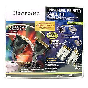 NEWPOINT UNIVERSAL PRINTER CABLE KIT-SUPERIOR GRADE-24K GOLD PLATED CONNECTORS-5 YEAR WARRANTY-NEW!