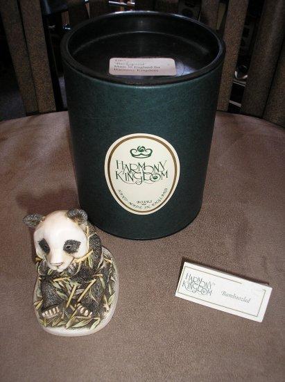 BAMBOOZLED HAND CARVED PANDA FIGURINE/TREASURE BOX by HARMONY KINGDOM of ENGLAND - BRAND NEW!