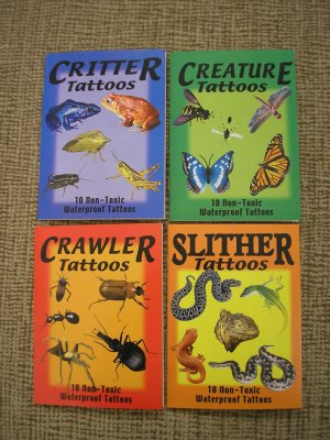 CREATURE, CRITTER, CRAWLER, SLITHER TEMPORARY TATTOOS - COMPLETE SET OF 40 WATERPROOF TATTOOS - NEW!