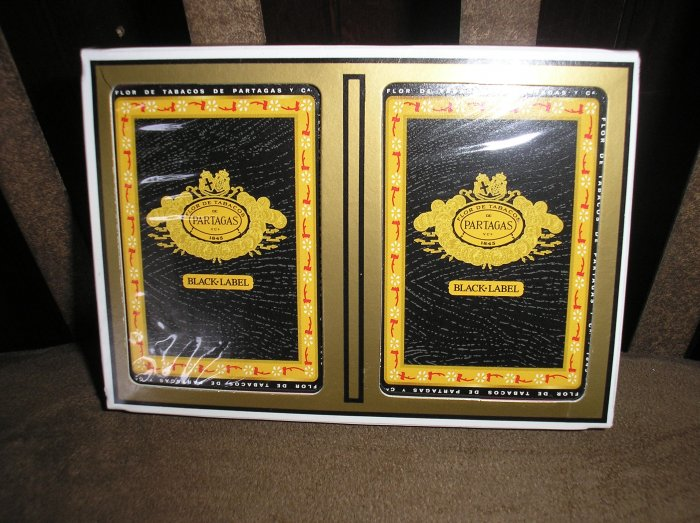 PARTAGAS BLACK LABEL Cigar Logo Poker/Playing Card Set by GEMACO - BRAND NEW!