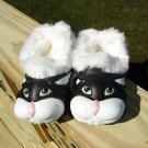 "POLLIWALKS KIDS ""TOYS FOR FEET"" BUNNY BLACK/WHITE FURRY-LINED SLIP ONS - SIZE 8 - BRAND NEW!"