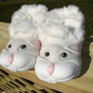 "POLLIWALKS KIDS ""TOYS FOR FEET"" BUNNY PALE GRAY/WHITE FURRY-LINED SLIP ONS - SIZE 8 - BRAND NEW!"
