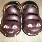 "POLLIWALKS KIDS ""TOYS FOR FEET"" BURGANDY/GRAY SNAKES SLIP ON SHOES - SIZE 8 - BRAND NEW!"