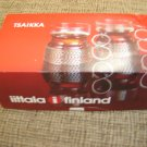Timo Sarpaneva Tsaikka Clear Hot Drinks Glasses & RED Clips Iittala Finland-NIB!