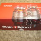 IITTALA TSAIKKA GLASS with STAINLESS HOLDER-Set of 2 RED (RARE)-VINTAGE-PERFECT FOR CHRISTMAS-NIB!
