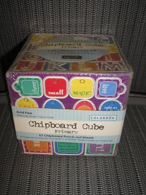 CHIPBOARD CUBE - COLORBOK - PRIMARY COLOR - 1299 PUNCH OUTS - FOR SCRAPBOOKING & MORE - NEW!
