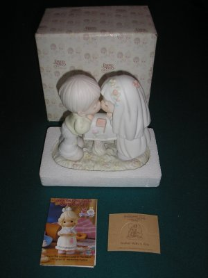 "PRECIOUS MOMENTS ""SEALED WITH A KISS"" #524441 FIGURINE - BRIDE & GROOM - NEW IN BOX!"