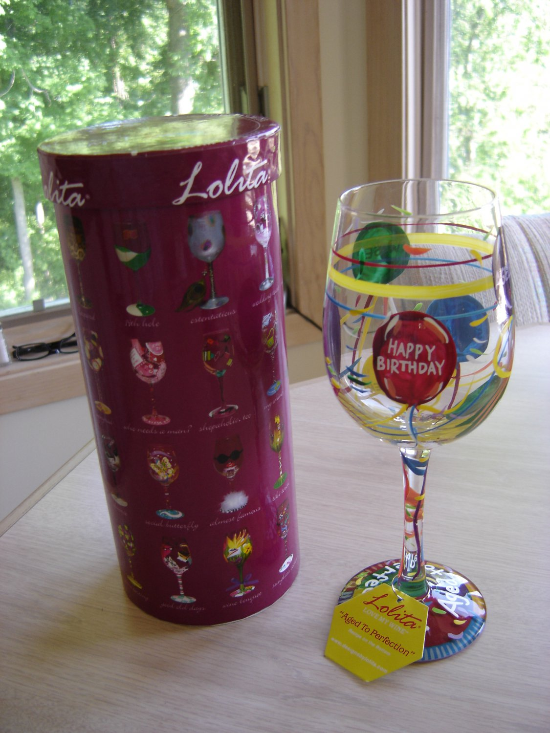 """LOLITA - LOVE MY WINE """"AGED TO PERFECTION"""" 15 Oz. HAND PAINTED STEM WINE GLASS by Lolita!"""