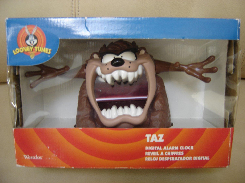 "VINTAGE TAZMANIAN DEVIL ""TAZ"" DIGITAL ALARM CLOCK WARNER BROTHERS LOONEY TUNES by WESTCLOX 1997-NEW!"