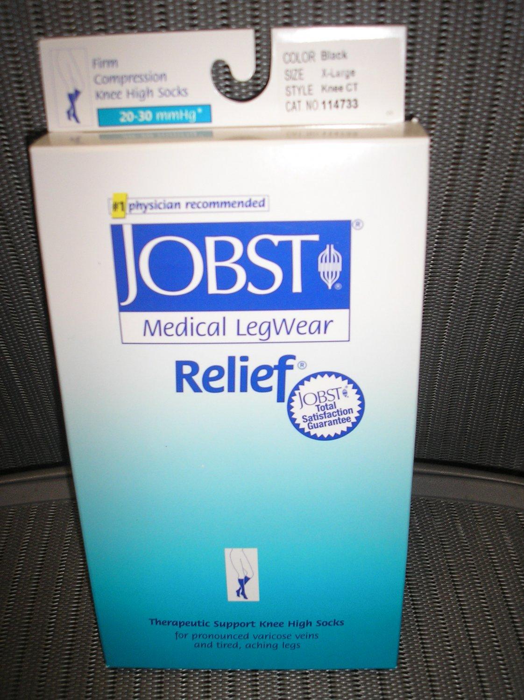 JOBST Medical LegWear Relief Knee High Socks 20-30 mmHg Medium Black Open-Toe 1 Pair!