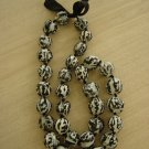 "HAWAIIAN BLACK & WHITE KUKUI NUTS ""TIGER EYE"" NECKLACE/LEI - CHUNKY BEADS!"