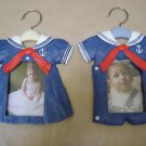 "BABY SAILOR PICTURE FRAME SET-RED,WHITE & BLUE-HANGING or STANDING DISPLAY for 3 1/2"" x 5"" PICTURES!"