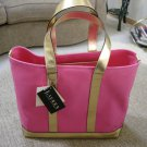 RALPH LAUREN TOTE/HAND BAG/SHOPPER -  HOT PINK CANVAS & GOLD LEATHER TRIM - NEW!!