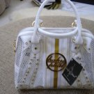 "BABY PHAT WHITE w/ GOLD ACCENT RHINESTONE & GOLD STUDDED ""PEEK-A-BOO"" HANDBAG/PURSE - NEW WITH TAG!"