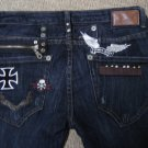ROBIN'S JEANS ROCK N' ROLL $319 CROSS SKULL STRAIGHT SKINNY JEANS SIZE 30 - MADE IN USA!