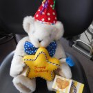 "VERMONT TEDDY BEAR ""HAPPY BIRTHDAY"" BEAR with FESTIVE HAT,CANDIES & NOISE MAKER - MADE IN USA!"