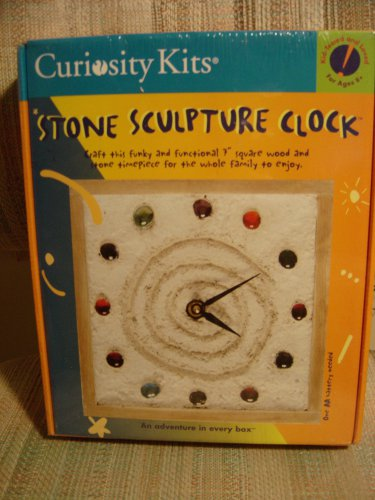 "STONE SCULPTURE CLOCK by CURIOSITY KITS - Craft this Funky and Functional 7"" Wood & Stone Timepiece!"