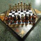 HANDCRAFTED ARTISAN WOODEN/RESIN DECORATIVE BOX CHESS SET - VERY UNIQUE - DETAILED & COLORFUL!