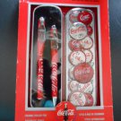 VINTAGE COCA-COLA COLLECTIBLE CERAMIC ROLLER PEN & AUTOMATIC PENCIL w/ GIFT TIN in ORIGINAL Package!