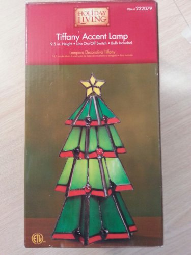 """HOLIDAY LIVING TIFFANY STAINED GLASS ACCENT LAMP - 9.5"""" HIGH - 15 WATT!"""