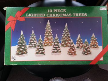 """CHRISTMAS TREES-LIGHTED PORCELAIN-SET OF 10-4"""" to 7""""- PERFECT for CHRISTMAS VILLAGE SCENES!"""