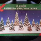 "CHRISTMAS TREES - LIGHTED PORCELAIN-SET OF 10-4"" to 7""- PERFECT for CHRISTMAS VILLAGE SCENES!"