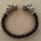 MEN'S STAINLESS STEEL & BLACK/BROWN LEATHER DRAGON'S HEAD BRACELET!