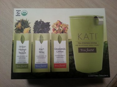 Kati Tea Steeping System Includes 24 pre-portioned packages of Tea Forte Single Steeps Sampler Teas!