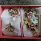 CAPODIMONTE Floral Pin & Clip Earring Set - COLORFUL BOUQUET - Beautiful Boxed Set made in Italy!