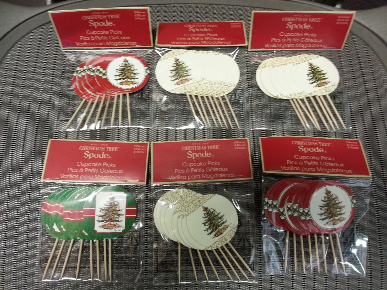 Spode CHRISTMAS TREE Wood & Paper Cupcake Picks (Lot of 6 Packs of 8 Picks) #VP-12051!