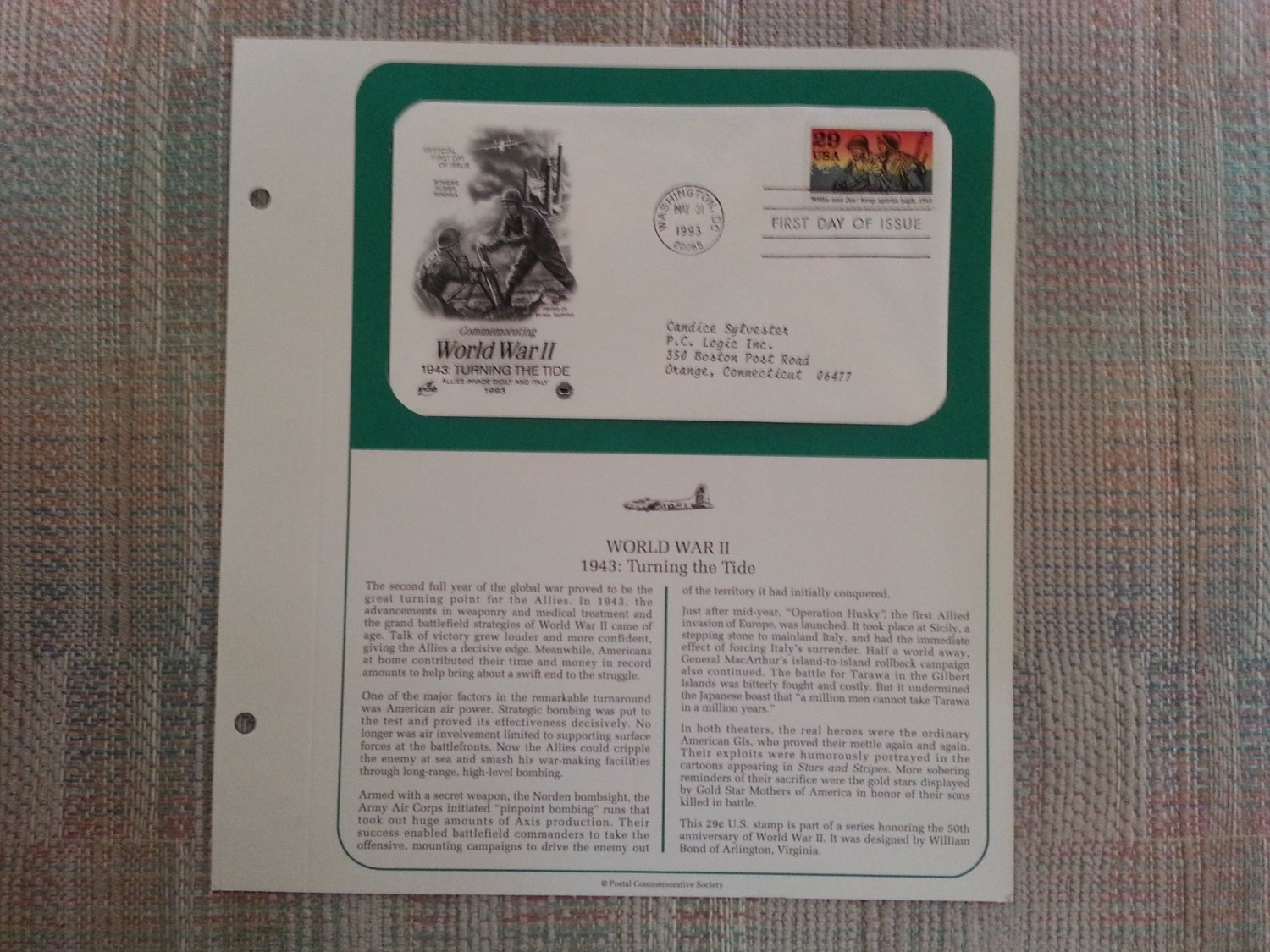 WORLD WAR II 1943:TURNING THE TIDE MAY 31,1993 OFFICIAL FIRST DAY OF ISSUE COVERS STAMP MINT COND!