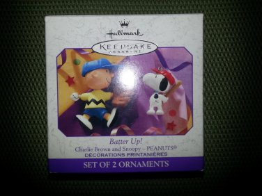 "Charlie Brown and Snoopy - PEANUTS ""BATTER UP!"" Set of 2 Ornaments - HALLMARK KEEPSAKE from 1999!"