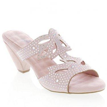 """Joan Boyce """"Jane"""" Laser Cut Metallic Kitten Heel Slides Size 7!"""