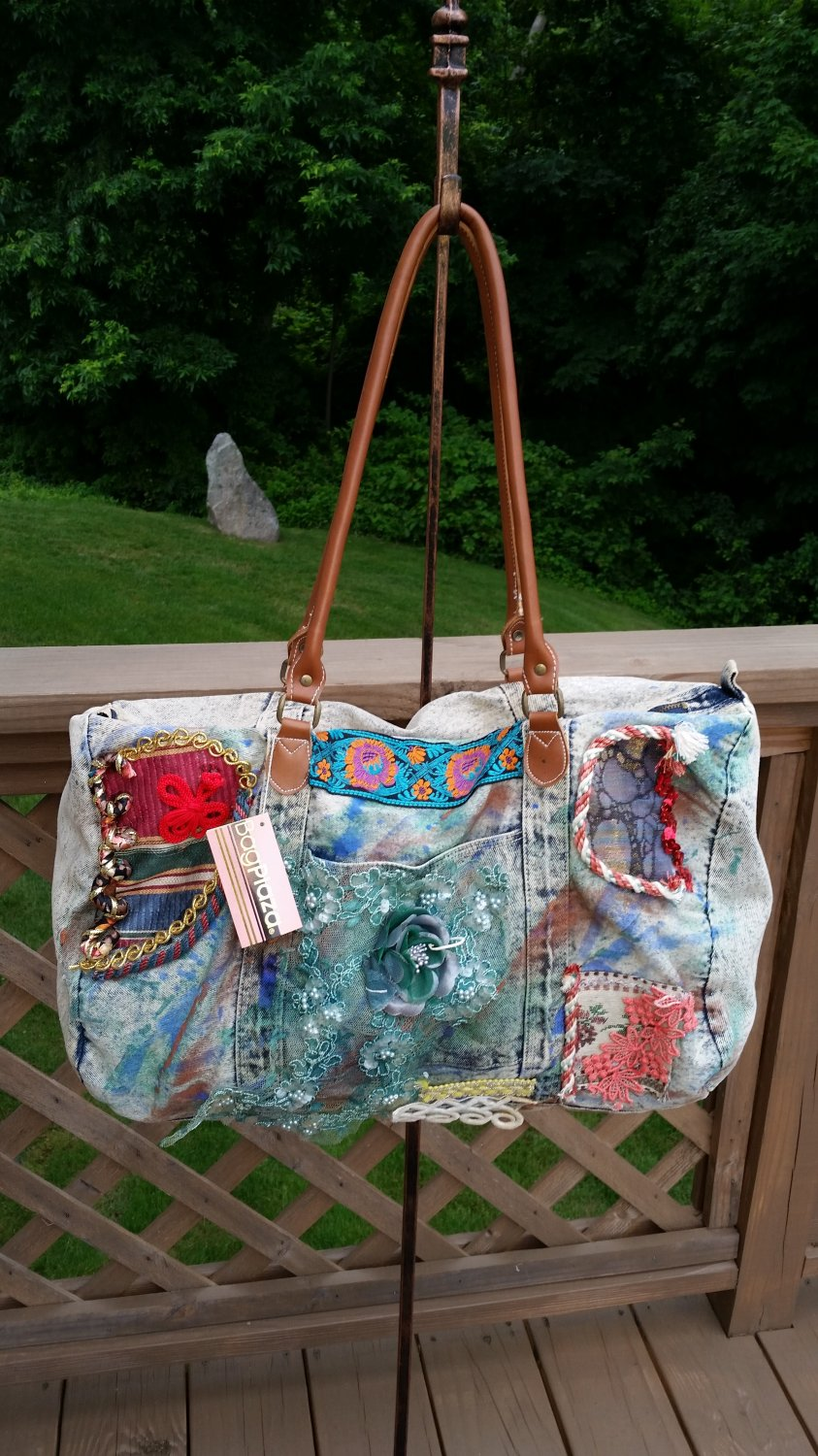 COLOSSAL Embellished Denim Duffle Tote - UNIQUE!