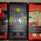 Set of 3 Petrifying Wood Puzzles - Frankenstein, Dracula & Mummy - Can You Turn Them Into Cubes?