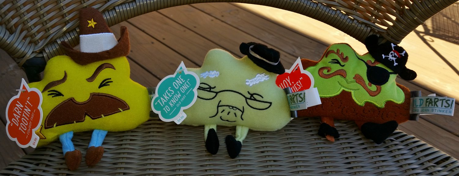 """Hallmark """"Old Farts"""" Plush Beanies - Set of 3 - Pirate,Cowboy & Old Stinker - New with Tags - RARE!"""