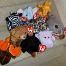 TY BEANIE BABIES - RETIRED - LOT of 9 BIG GAME WILDLIFE BEANIES - NEW WITH TAGS!