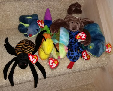 TY BEANIE BABIES - RETIRED - LOT of 7 INSECT & REPTILE BEANIES - NEW WITH TAGS!