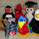 TY BEANIE BABIES - RETIRED - LOT of 7 BIRD BEANIES - NEW WITH TAGS!