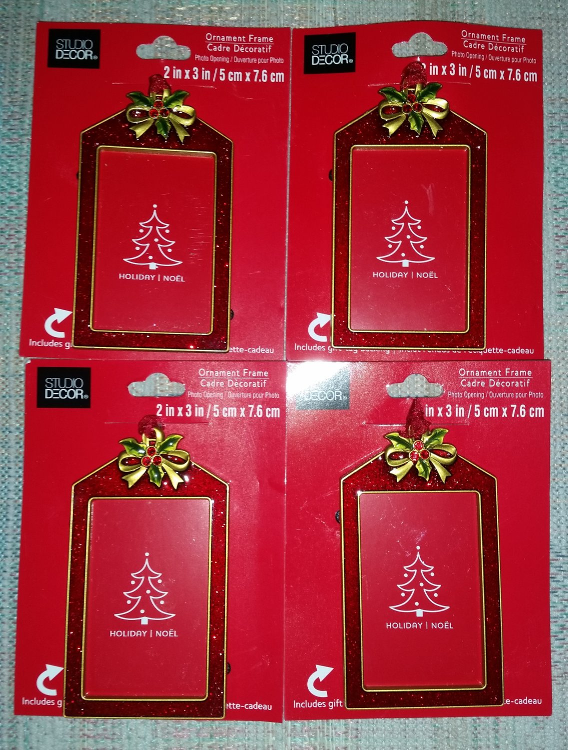 Red Glitter Enamel Photo Frame Ornament with Gift Tag Back-Lot of 4-Personalize your Holiday Gifts!