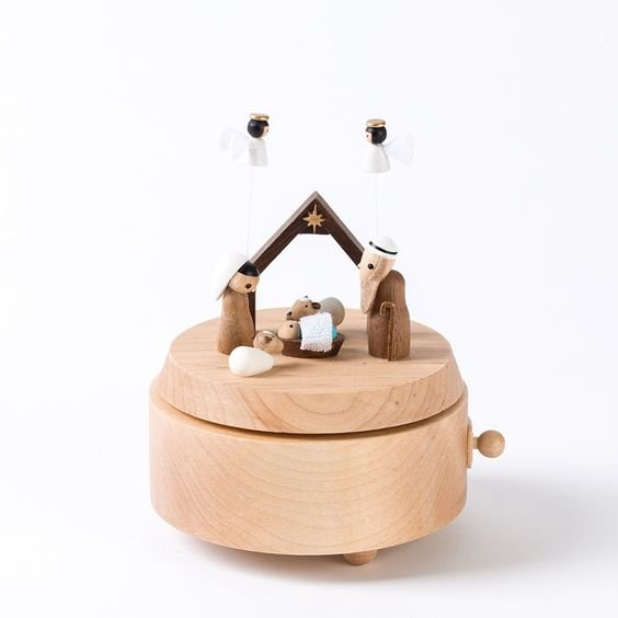 "Wooderful Life Handcrafted Wooden Nativity Creche Music Box - Plays ""Away in a Manger"" - New in Box!"