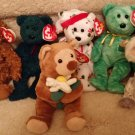 TY BEANIE BABIES-RETIRED-LOT #4-7 BEARS-HAWTHORNE,KILLARNEY,98 & 01 HOLIDAY,99 SIG,BLOOMFIELD,BONZER