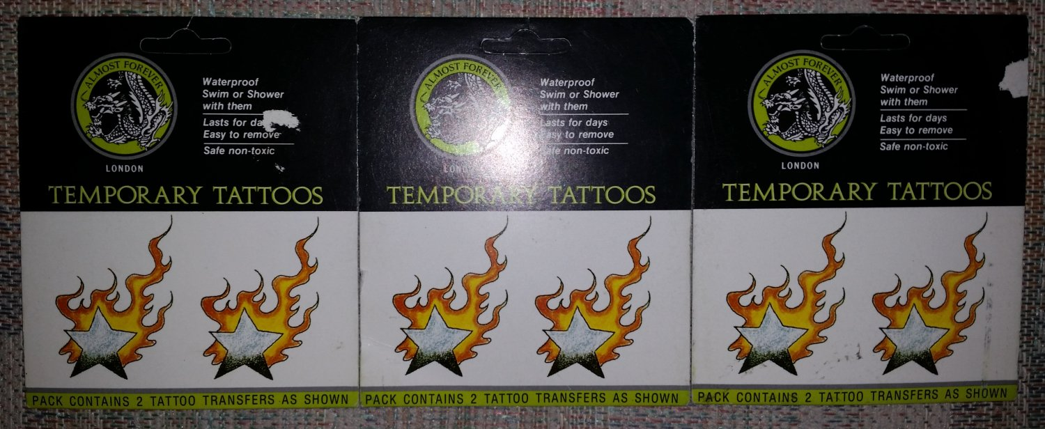 Almost Forever London Temporary Tattoos-FLAMING STARS-Waterproof-Swim or Shower w/ them-Lot of 3!