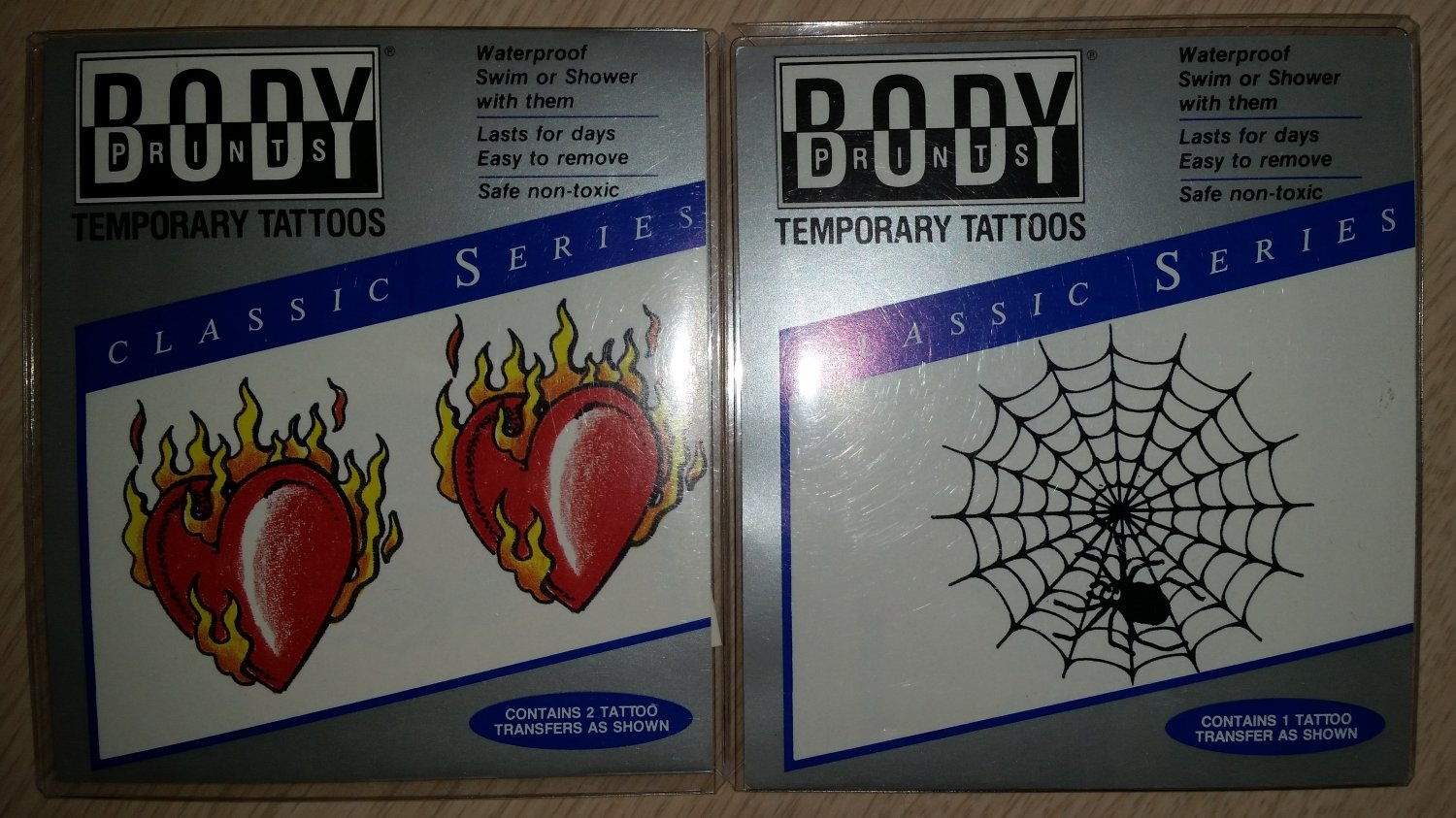 Body Prints London Temporary Tattoos-HEARTS/WEB-Waterproof-Swim or Shower w/ them-Lot of 2!