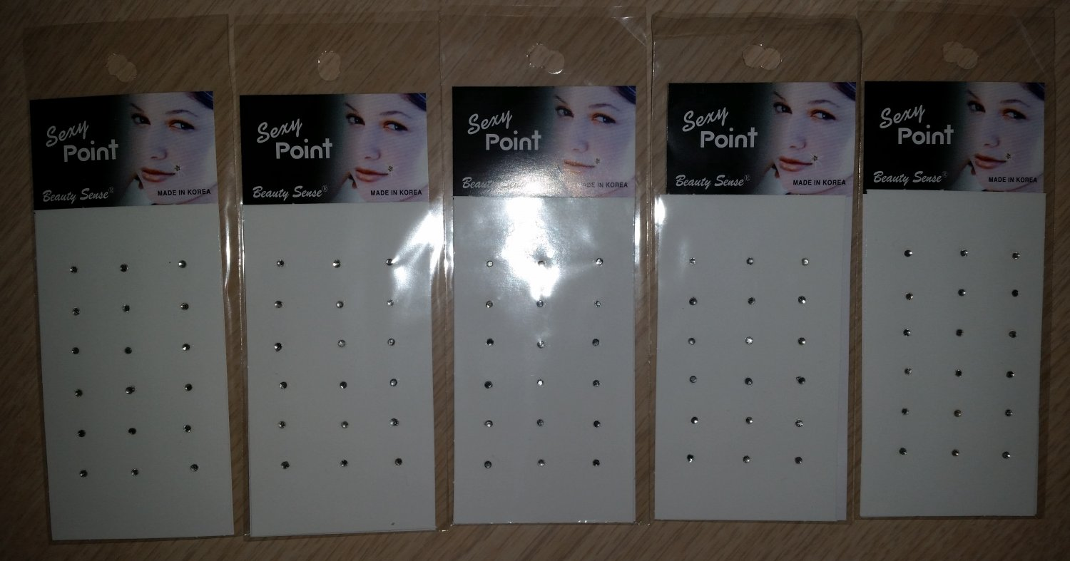 Beauty Sense Jewelry Sparkling Stick-on Body Crystal Gems - RHINESTONE Sexy Points -Lot of 5!