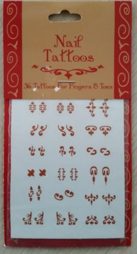 Nail Tattoos - 36 for fingers & toes - Henna color!