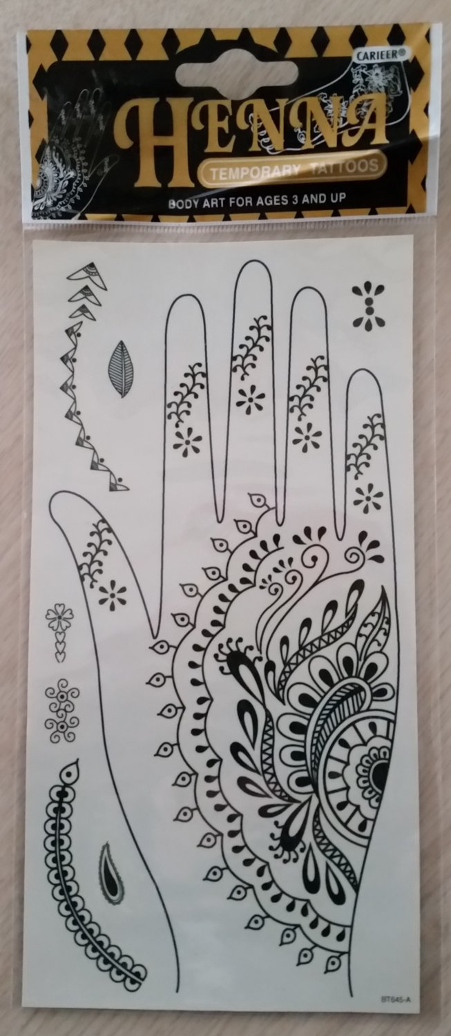 Carieer HENNA Hand and Fingers Temporary Tattoo plus more!