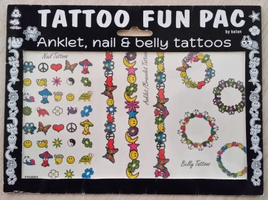 Kalan Tattoo Fun Pac - Anklet, Nails & Belly Temporary Tattoos - 45 Total!