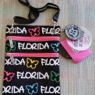 """""""FLORIDA"""" Butterfly Canvas Crossbody Neck Wallet Document Holder by Robin Ruth - BE NOTICED!"""
