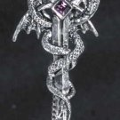 "CAR CHIMES ""DRAGON SWORD"" PEWTER & TEAL/PURPLE CRYSTAL REAR VIEW MIRROR CAR CHARM & CHIME!"